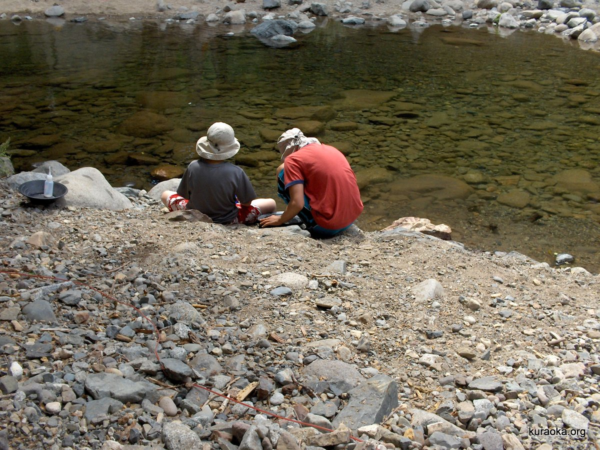 Leo and Roy panning for gold along the Yuba River
