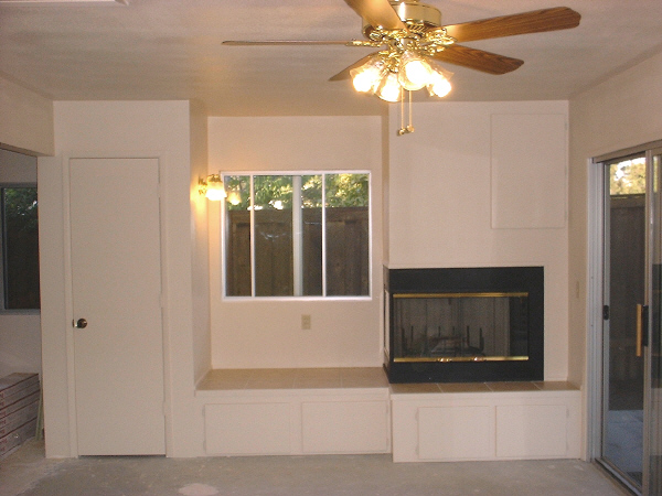 Room addition, 9-17: This photo shows the finished raised hearth.